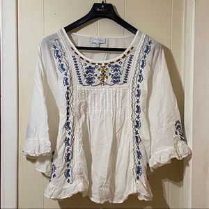 Jessica Simpson Maternity Top Tie Back Embroidery